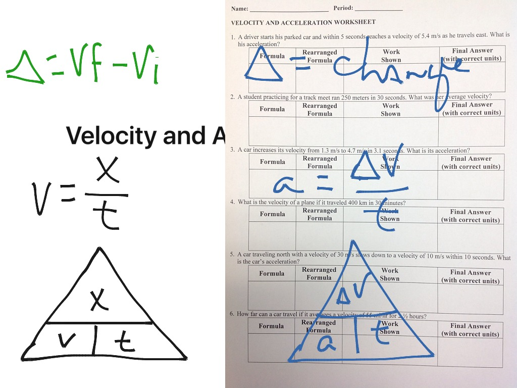 Velocity and Acceleration Worksheet | Science | ShowMe