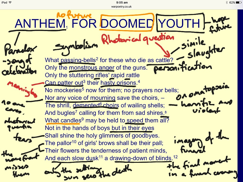 dulce et decorum est and anthem for doomed youth essay Dulce et decorum est and anthem for doomed youth are two poems  we  will write a custom essay sample on any topic specifically for you.