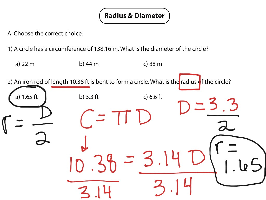math worksheet : showme  diameter radius cicumference of a circle : Radius And Diameter Worksheets