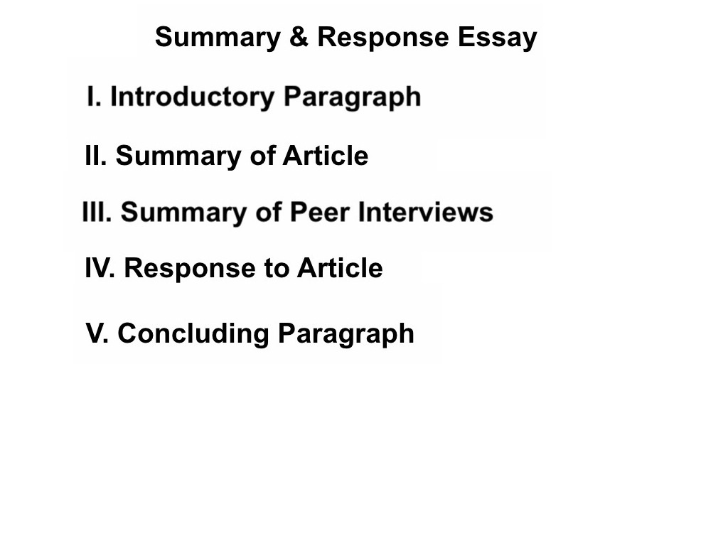 summary response essay conclusion Essay: summary/response the summary/response essay is a useful strategy for a college essay keep the following points in mind as you compose.
