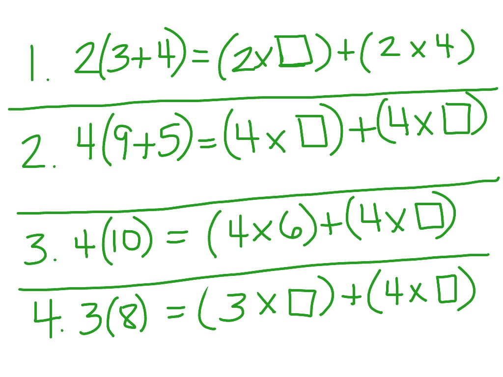 Distributive property worksheets 4th grade