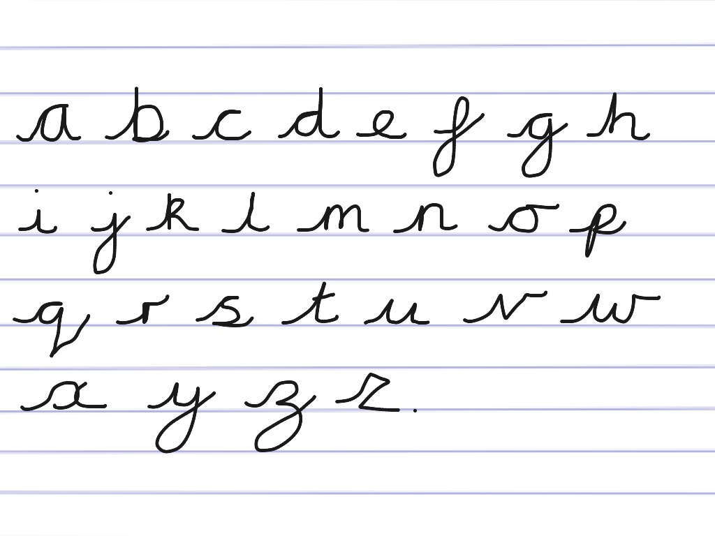 Handwriting cursive alphabet | handwriting, english, Writing | ShowMe