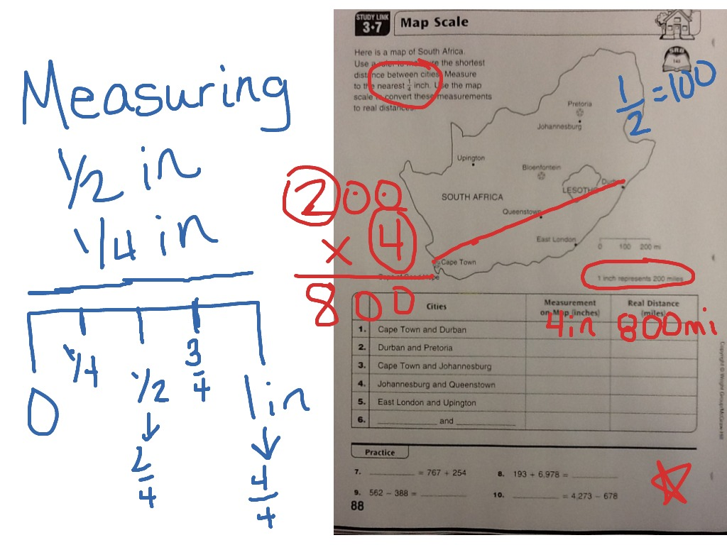 Everyday Math Study Link 3.7 Map Scale | Math | ShowMe