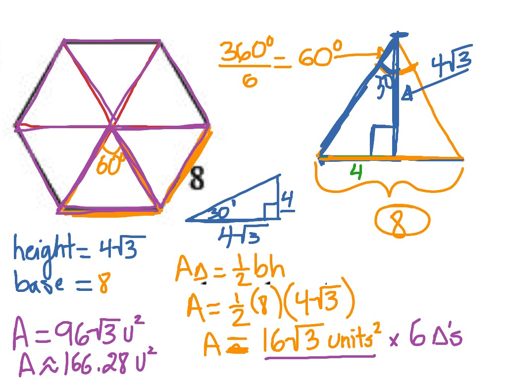 Area calculator area calculations - Geo 8 1 5 Calculating The Area Of A Regular Hexagon Math Geometry Area Of Regular Polygons Showme