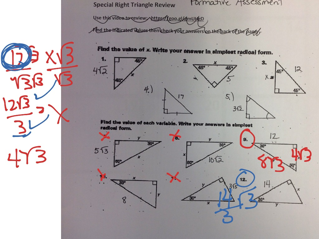 8 3 study guide and intervention special right triangles worksheet answers