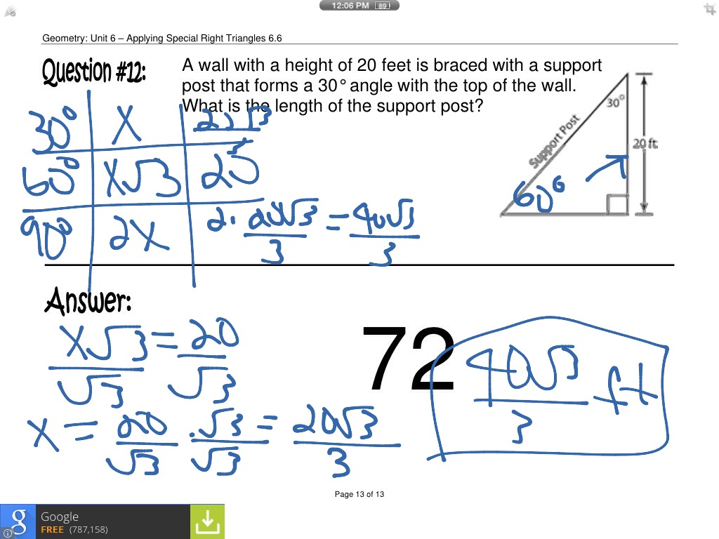 Applying Special Right Triangles | Math, geometry, Triangles ...
