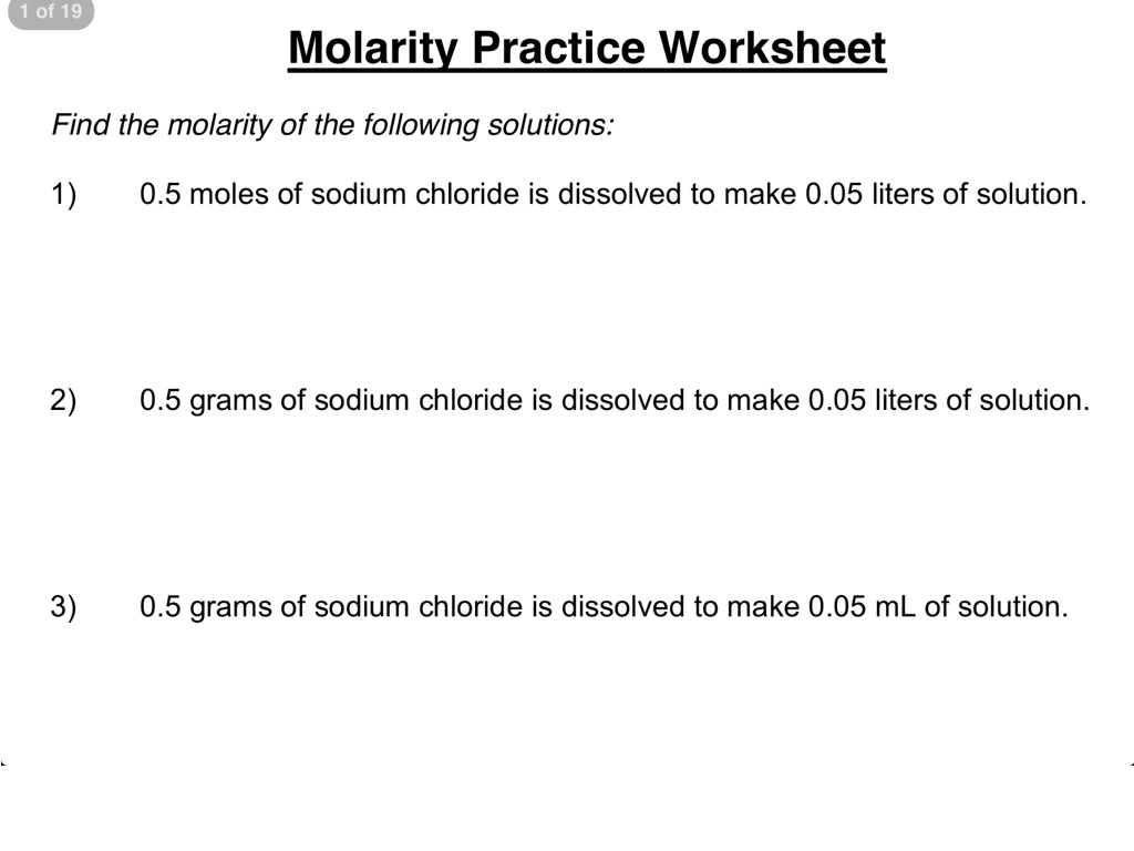 Molarity practice worksheet 1-3 | Science, Chemistry, Solutions ...