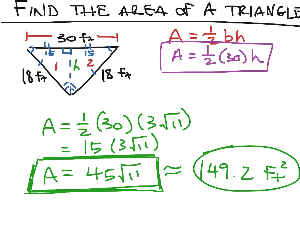Showme How To Find The Area Of An Isosceles Triangle