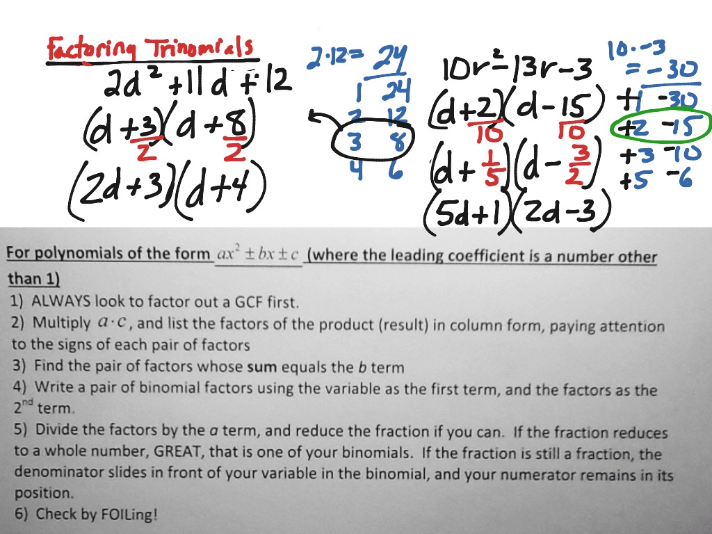 Worksheets Factoring Trinomials Of The Form Ax2 Bx C Worksheet showme factoring trinomials with form ax2 bx c