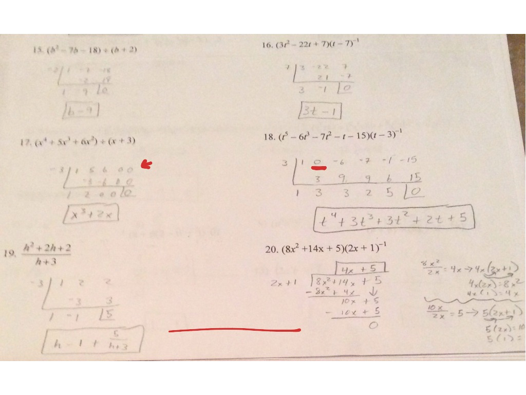 Worksheets Long Division Of Polynomials Worksheet 5 long division and synthetic worksheet math algebra 2 showme
