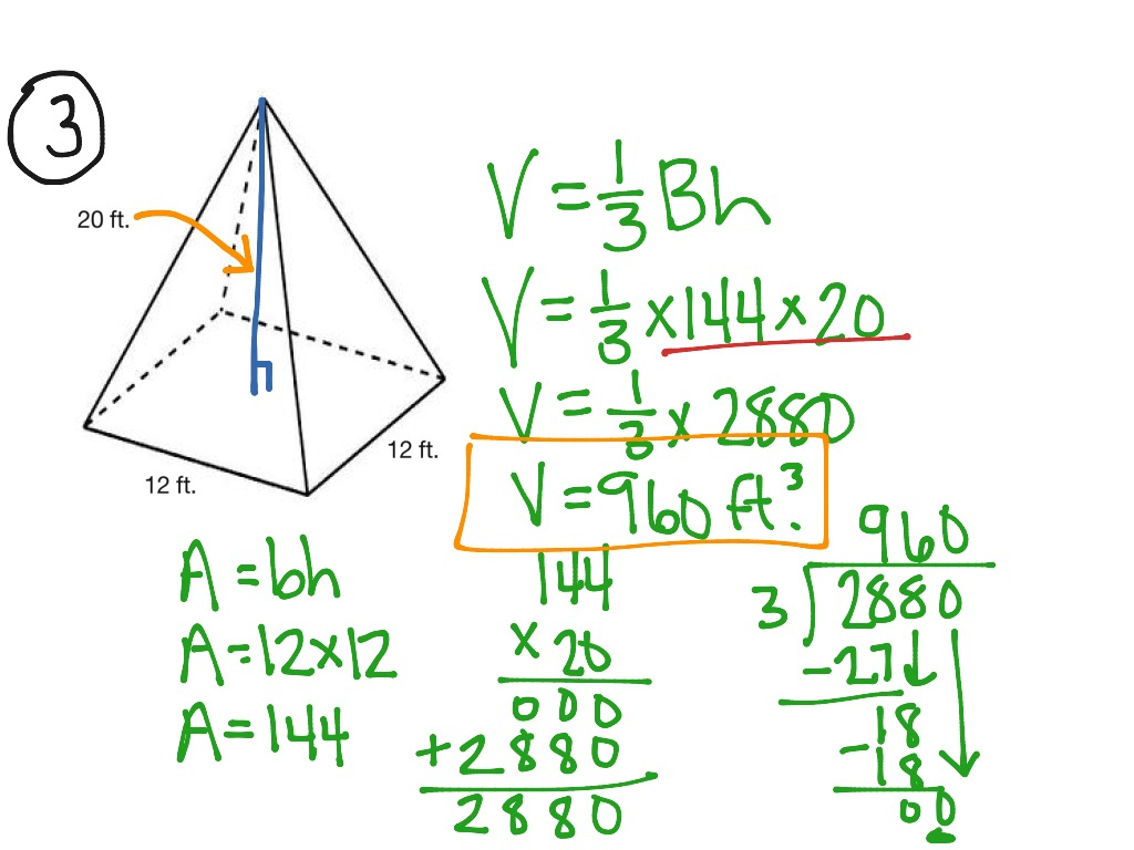 volume of a square pyramid The length of the base of square pyramid is 4 inches the volume of square pyramid is v=1/3ah where a is the base area and h be the height of the pyramid so v=1/3.