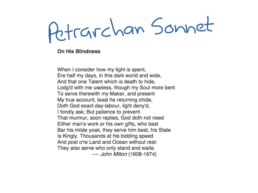 petrarchan sonnets The petrarchan sonnet was so named after the poems that petrarch wrote for his love, laura petrarchan sonnets idealize the object of love to the point of worship.