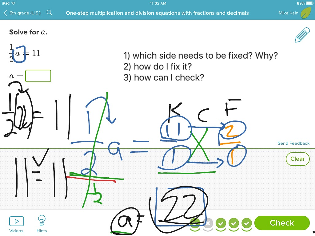 One Step Equations With Multiplication And Division Including