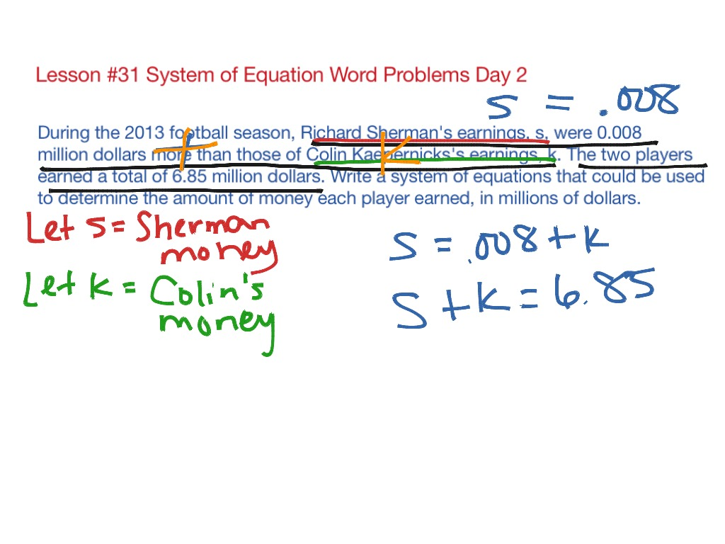 Lesson #31 System of Equation Word Problems Day 2 | Math