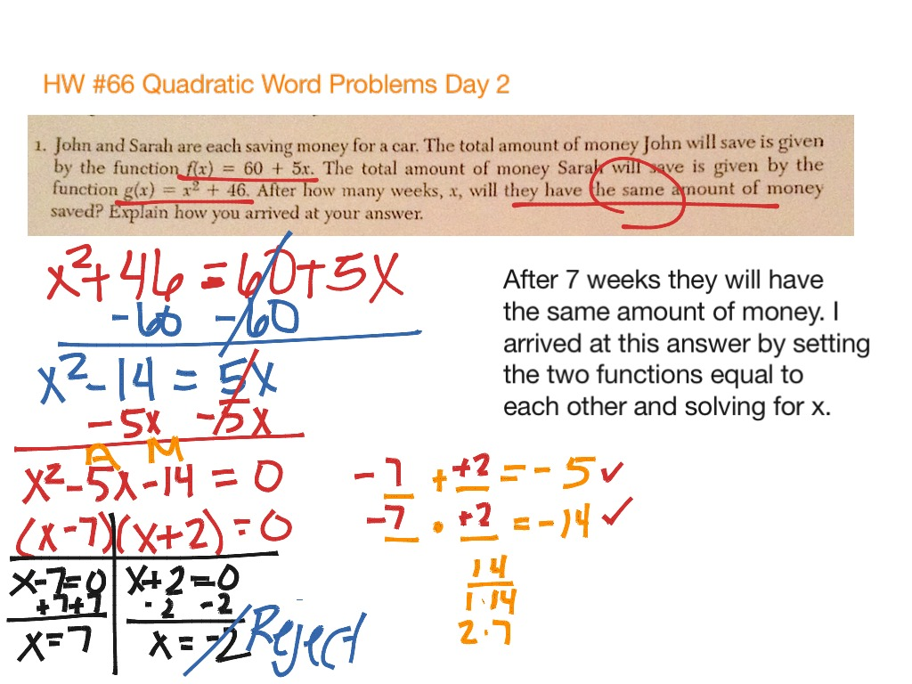 worksheet Quadratic Word Problems Worksheet With Answers hw 66 quadratic word problems day 2 math algebra showme