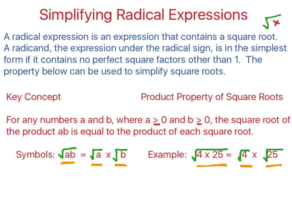 ShowMe simplify radicals nth roots – Operations with Radical Expressions Worksheet Answers