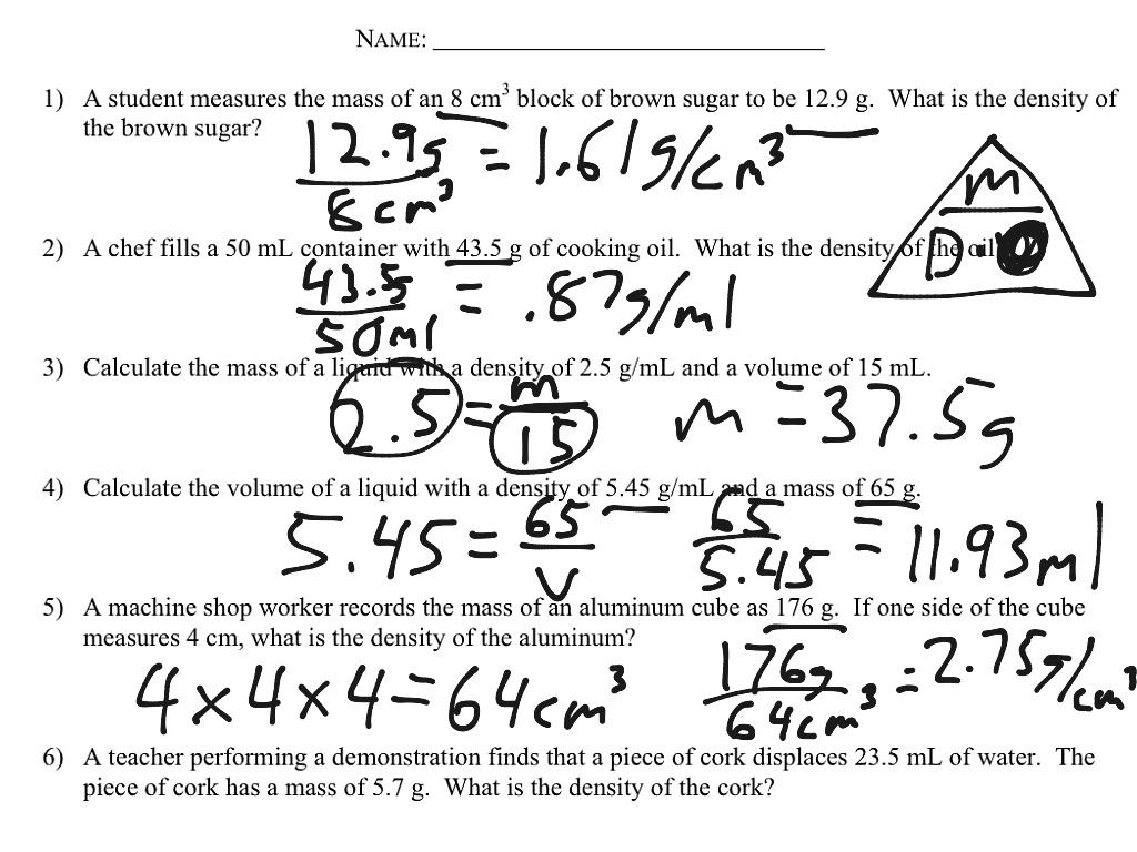 worksheet Mass Volume Density Worksheet Answers density calculations worksheet science showme