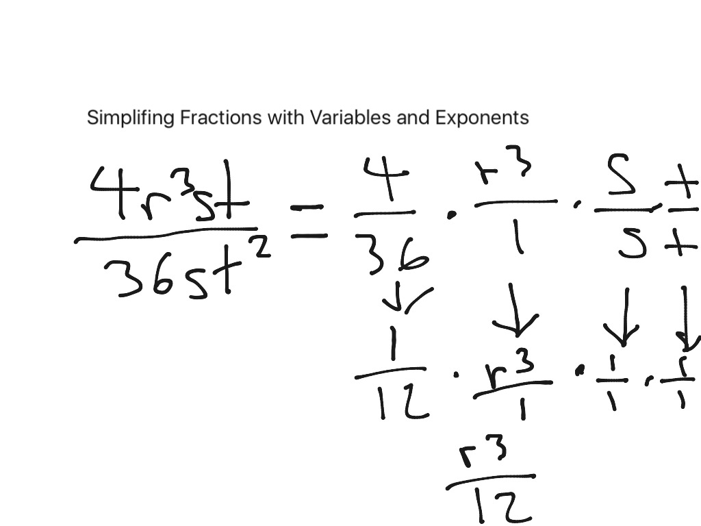 simplifying fractions with exponents and variables | math, algebra