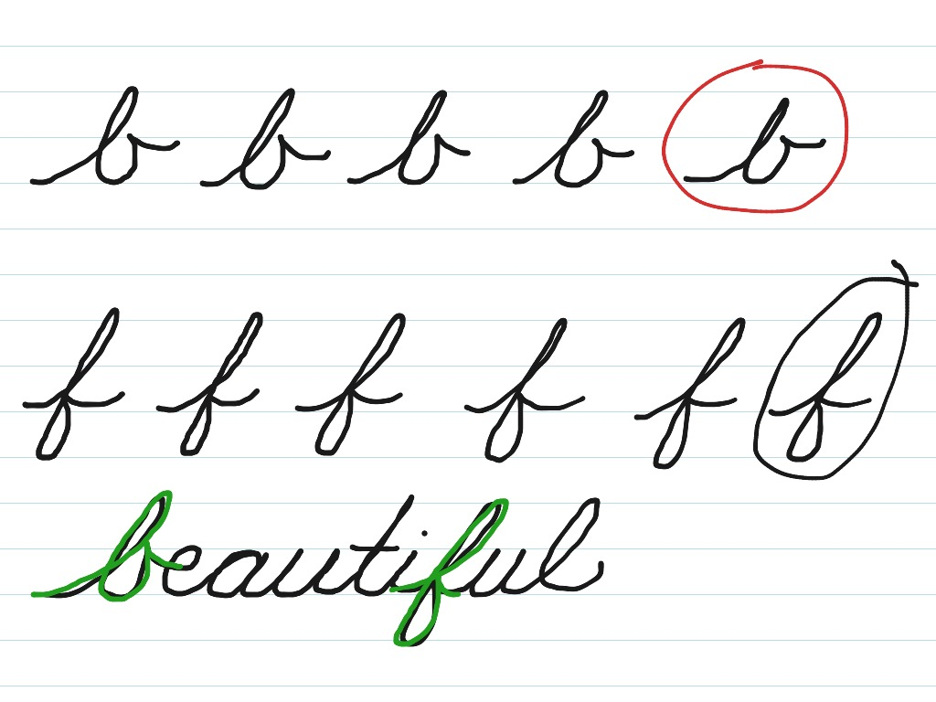 Cursive b and f | Cursive Handwriting | ShowMe