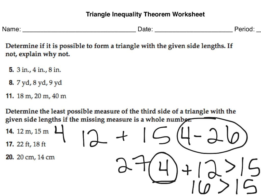 ShowMe two column proof triangle inequality theorem – Triangle Inequalities Worksheet