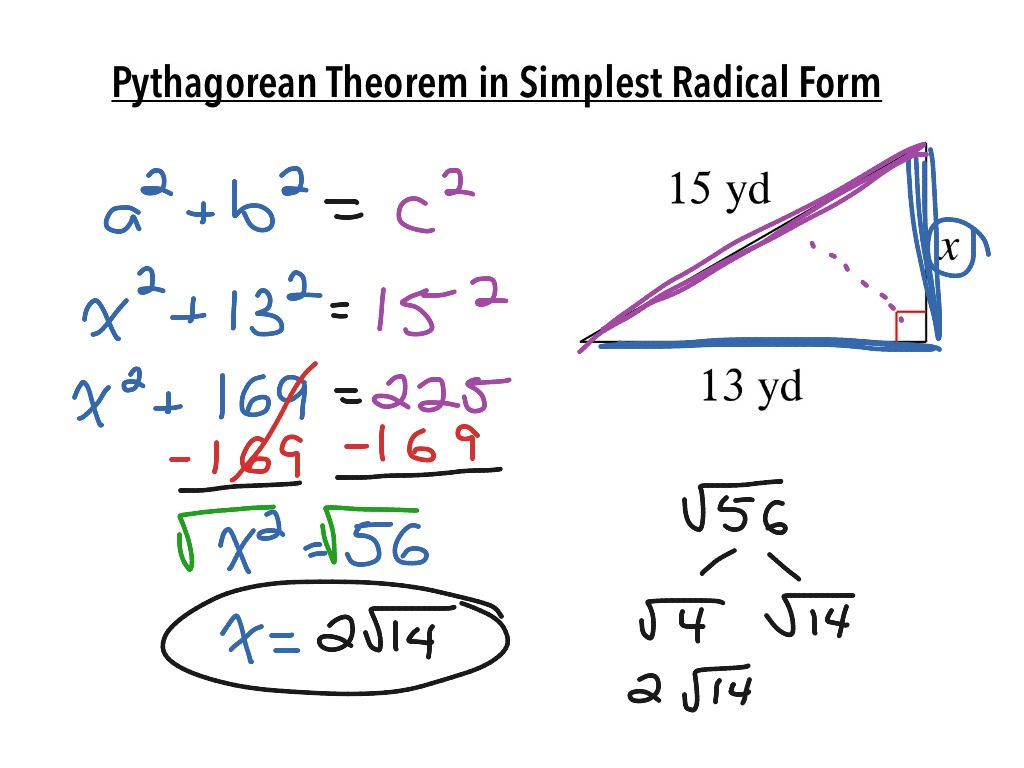 {Pythagorean Theorem in Simplest Radical Form – Simplest Radical Form Worksheet