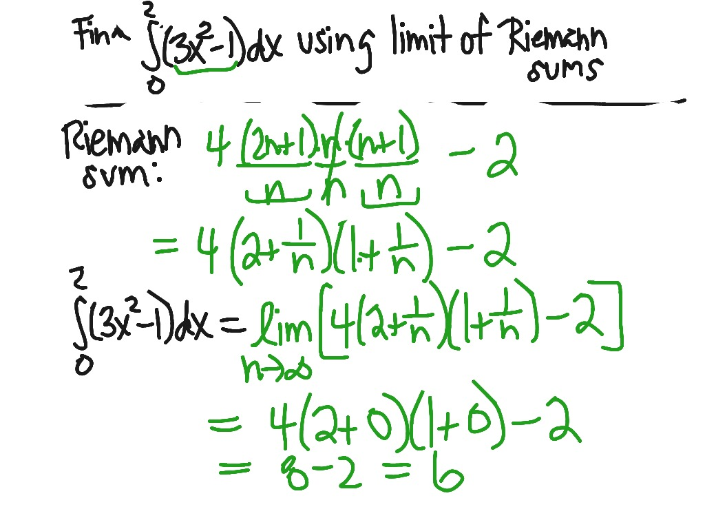 Limit Of Riemann Sum Example Showme