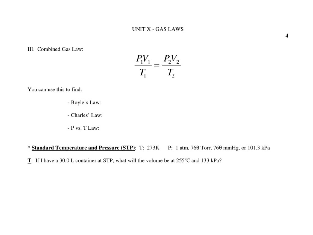 10 4 - Combined Gas Law | Science, Chemistry, Gas Laws | ShowMe