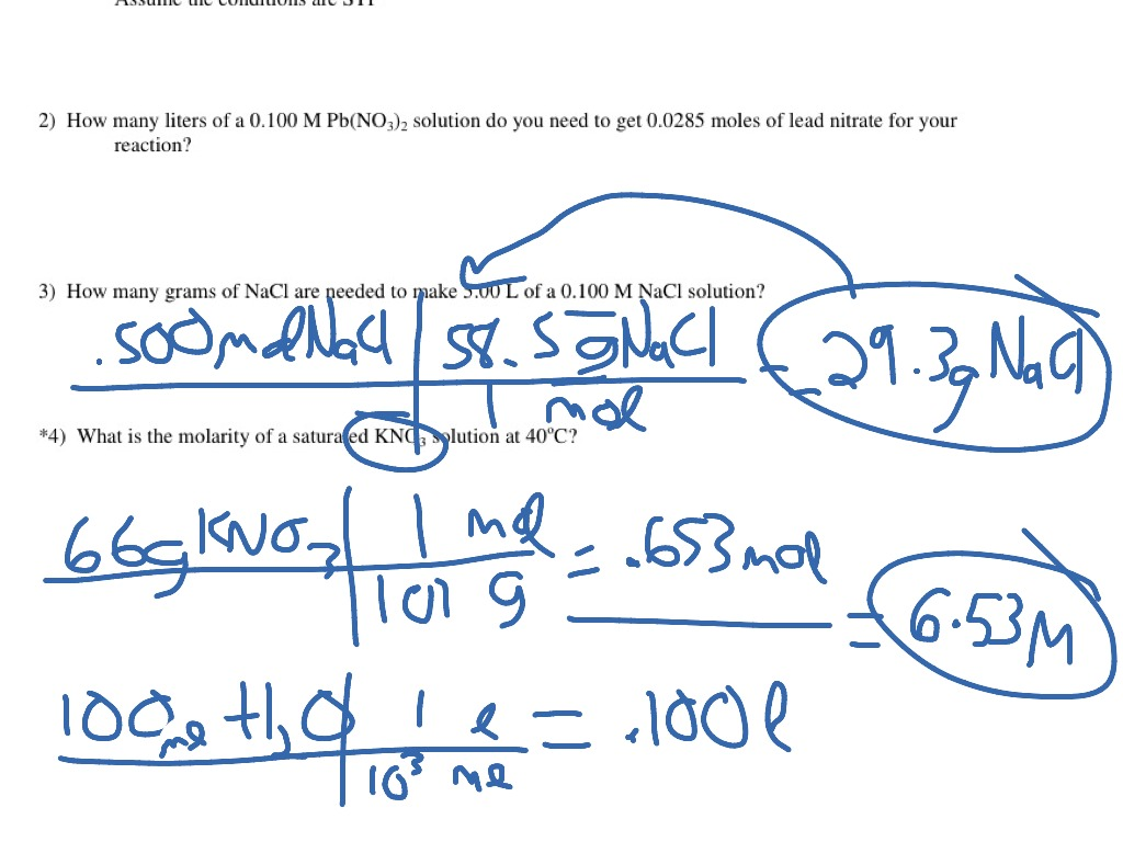 ShowMe - Molarity worksheet answers