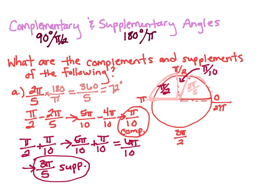 worksheet Complementary And Supplementary Angles Worksheet Answers complementary and supplementary angles trig math trigonometry degrees radians showme