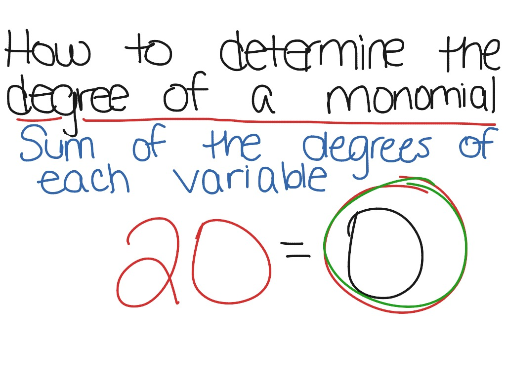 worksheet Degree Of A Monomial how to determine the degree of a monomial math algebra showme