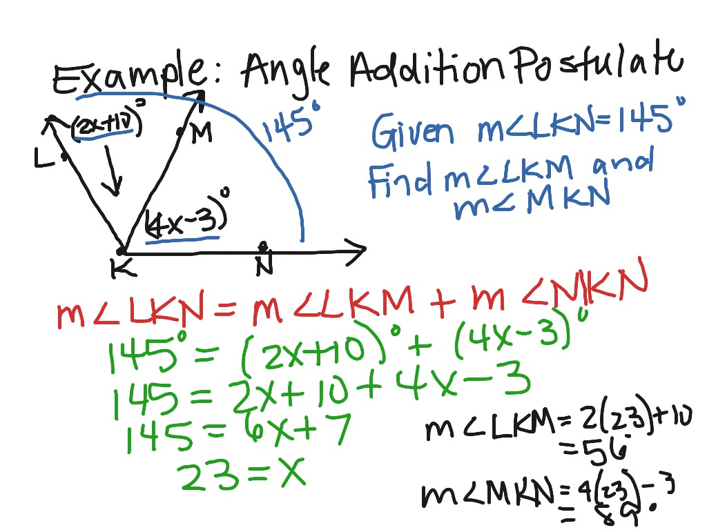 ShowMe - angle addition postulate