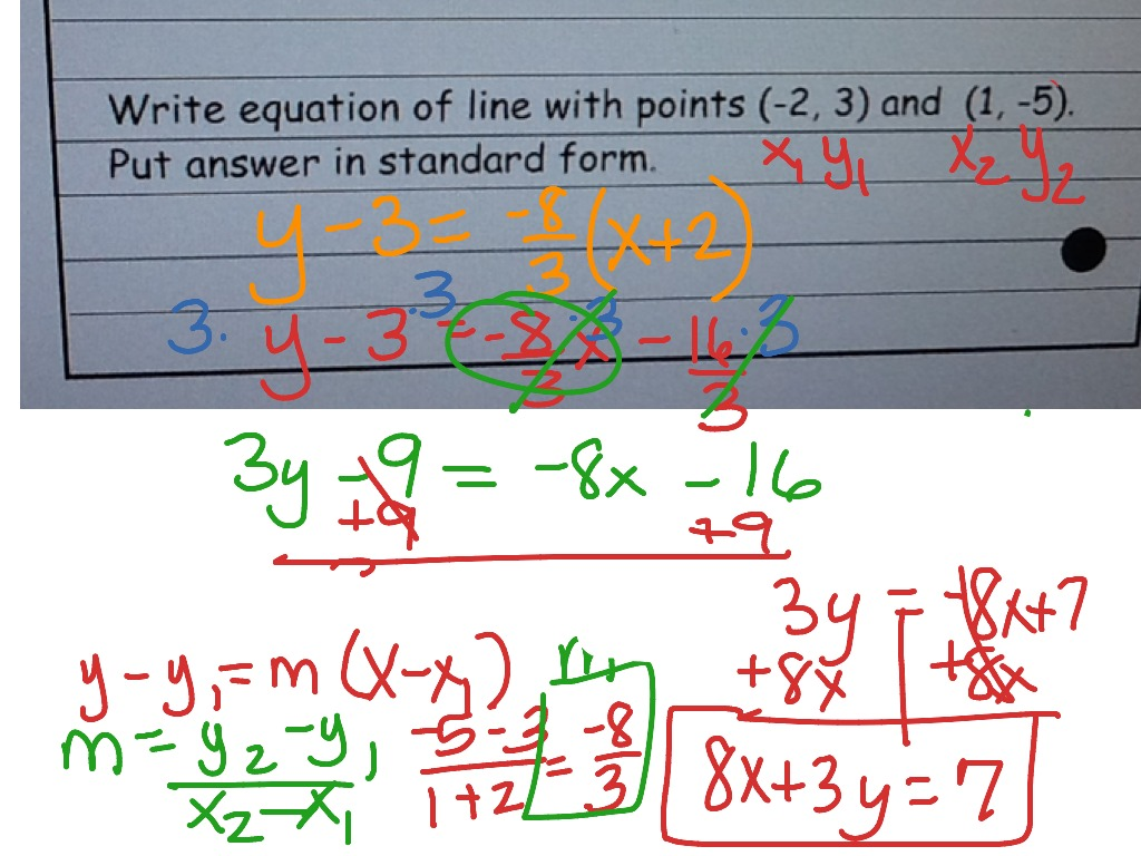 use point slope formula to write linear equations  math