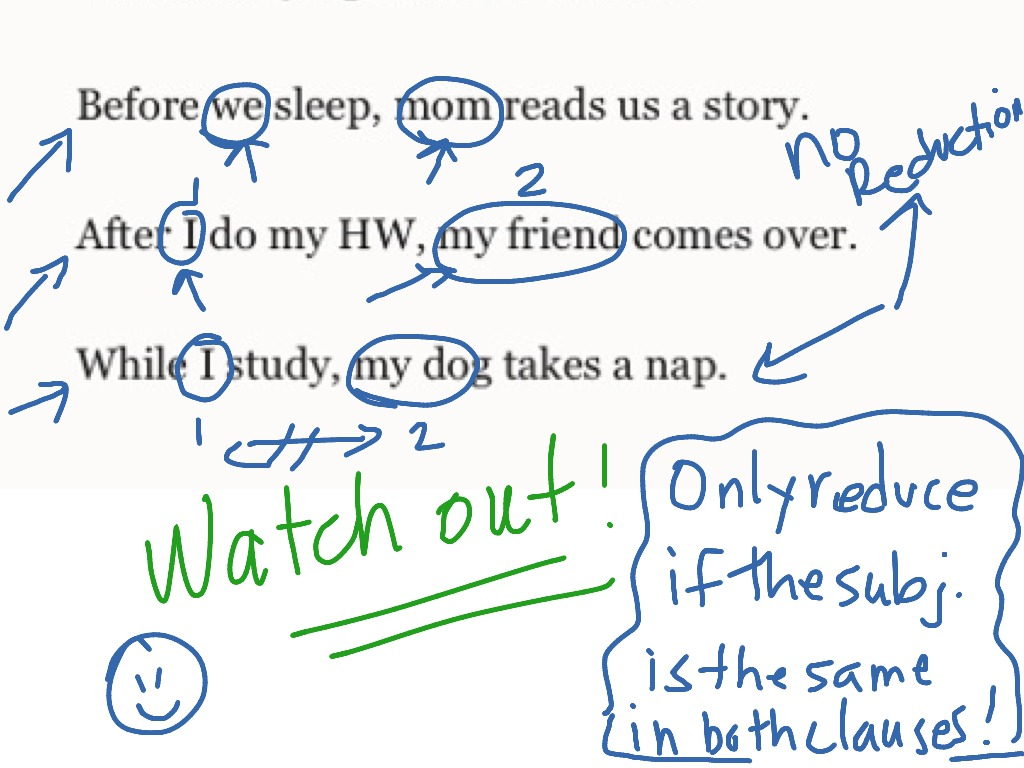 reducing adverb clauses of time grammar clauses