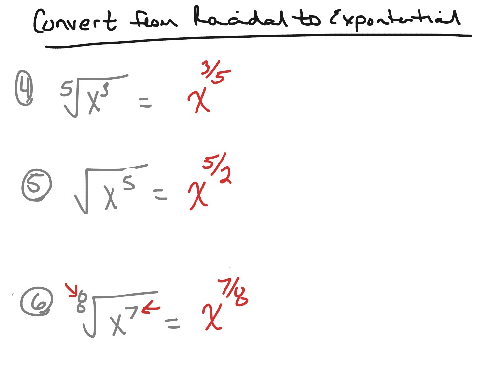 Convert from radical form to exponential form | Math, Algebra ...