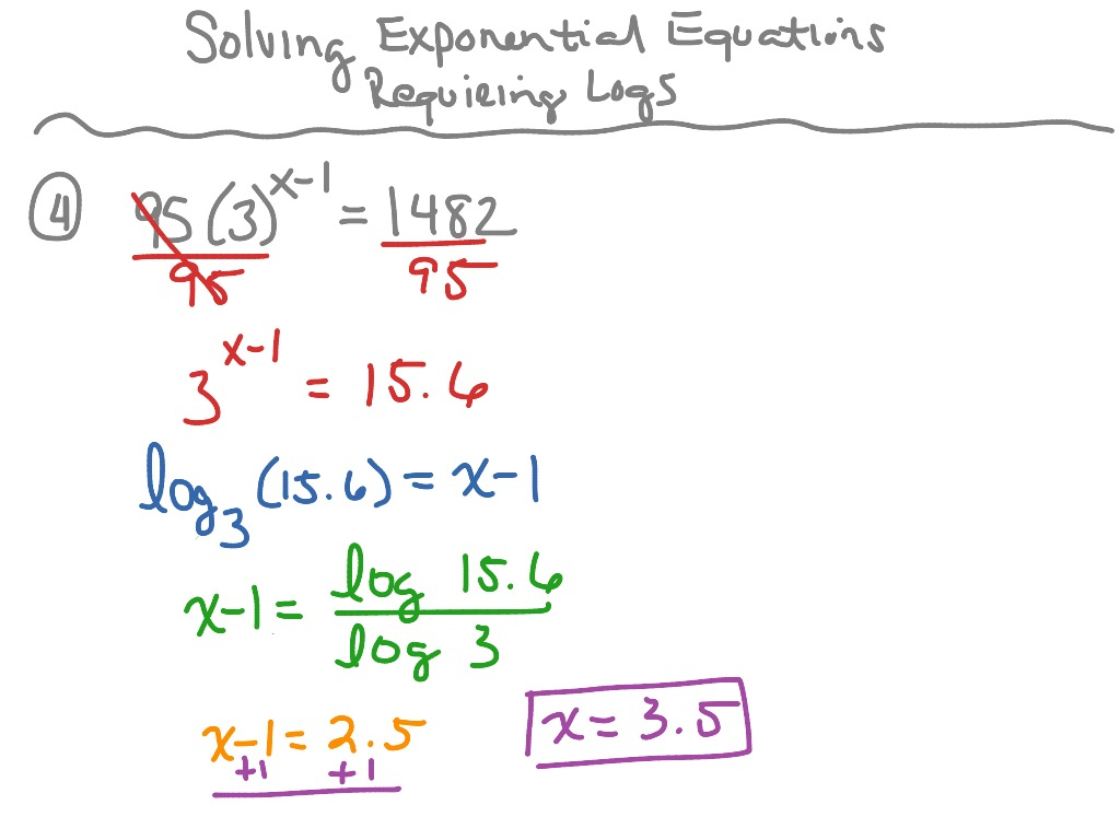 solving exponential equations (requiring logs) part 2 | math