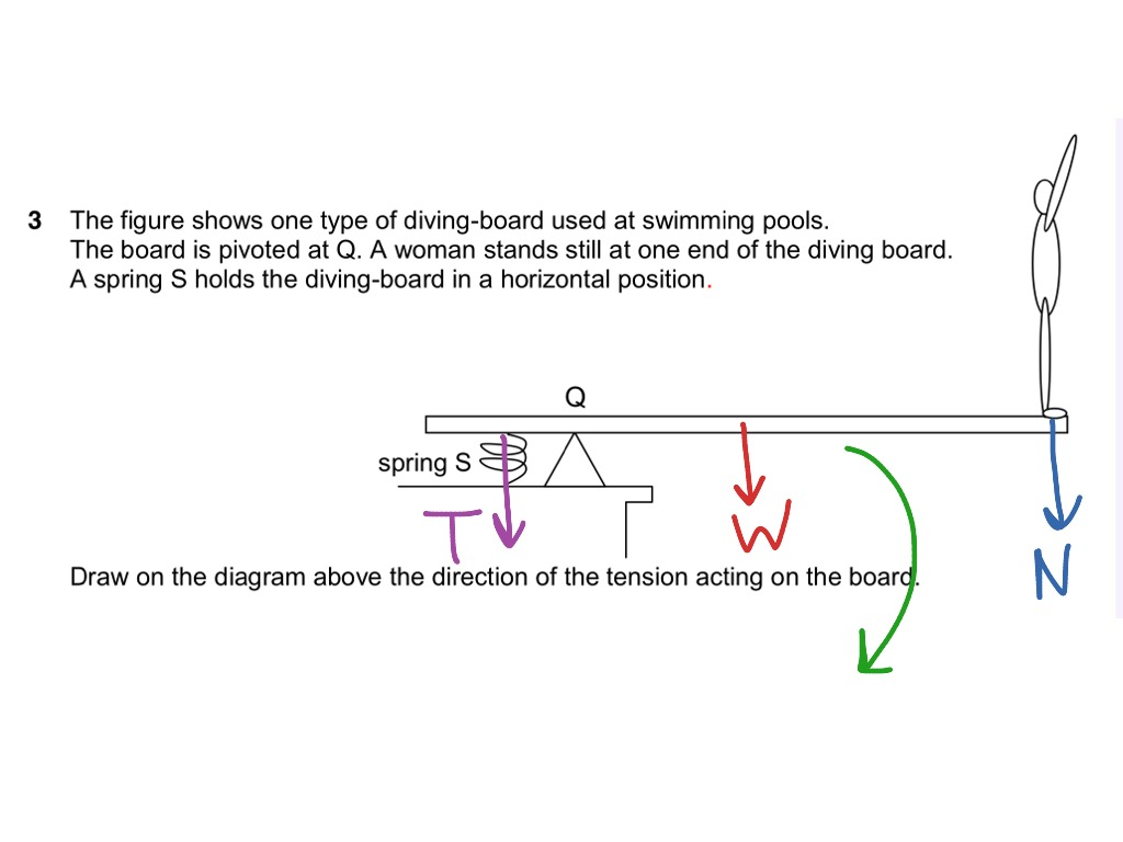 Tension Of Spring On Diving Board Physics Dynamics Showme Free Body Diagram