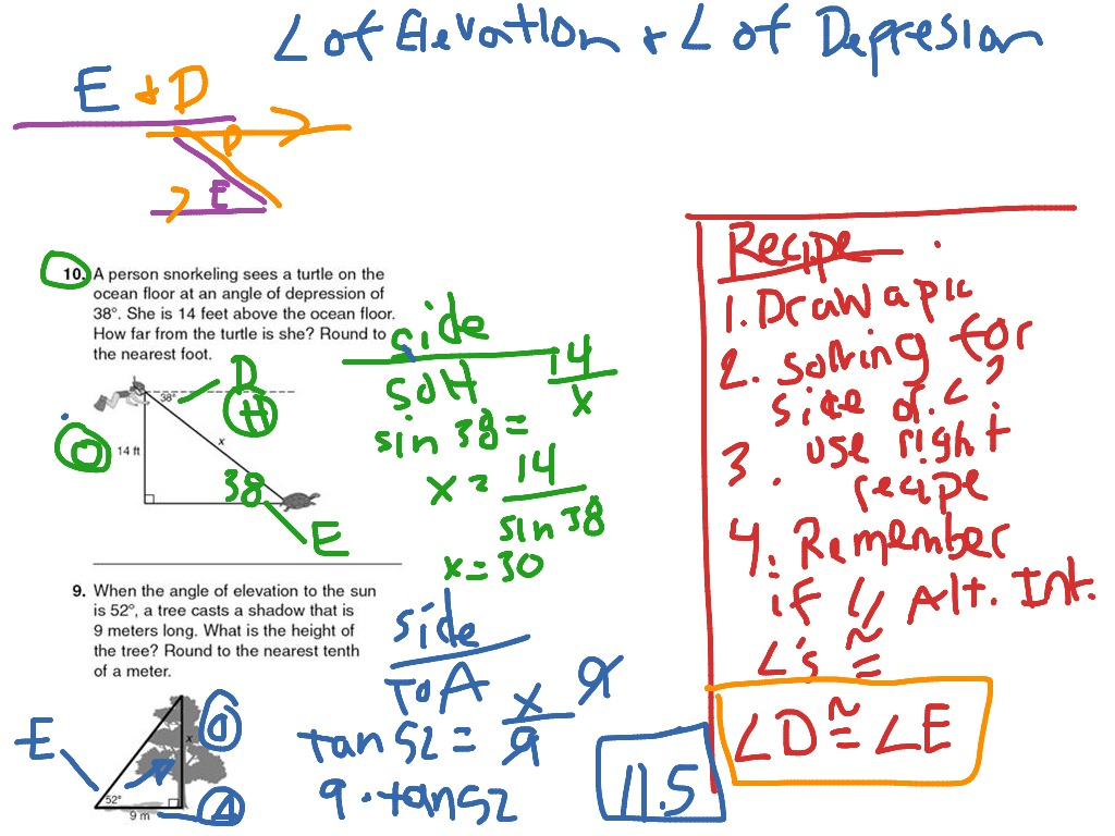 Angle Of Elevation Lesson Plan : Worksheet angle of elevation and depression