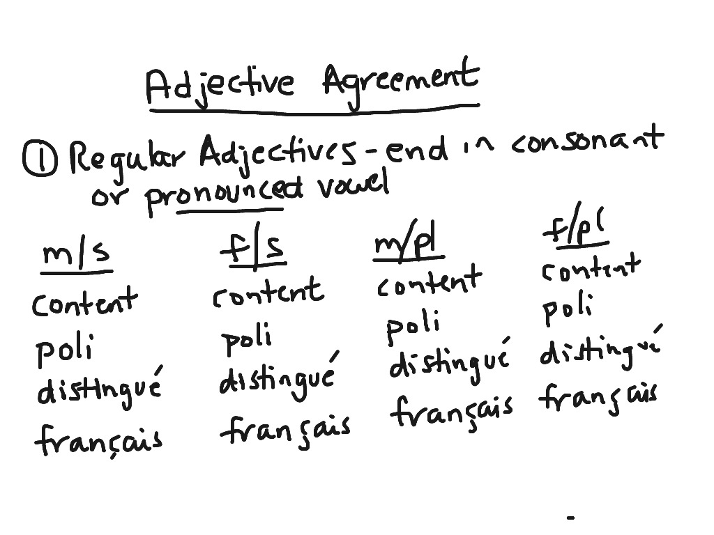 French 2 Adjective Agreement Language French Adjectives Showme