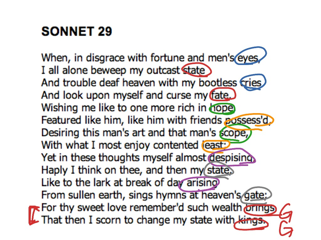 an analysis of the theme in sonnet 29 by william shakespeare Wealth theme in sonnet 29, analysis of theme of wealth  by william  shakespeare  see themes: friendship and themes: religion for more on  this.