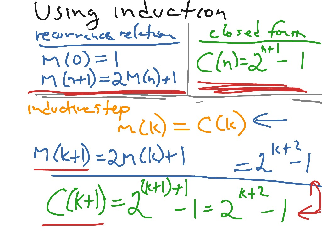 Using induction to verify a closed form solution | Math | ShowMe