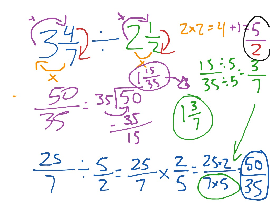 showme - dividing mixed number fractions using models