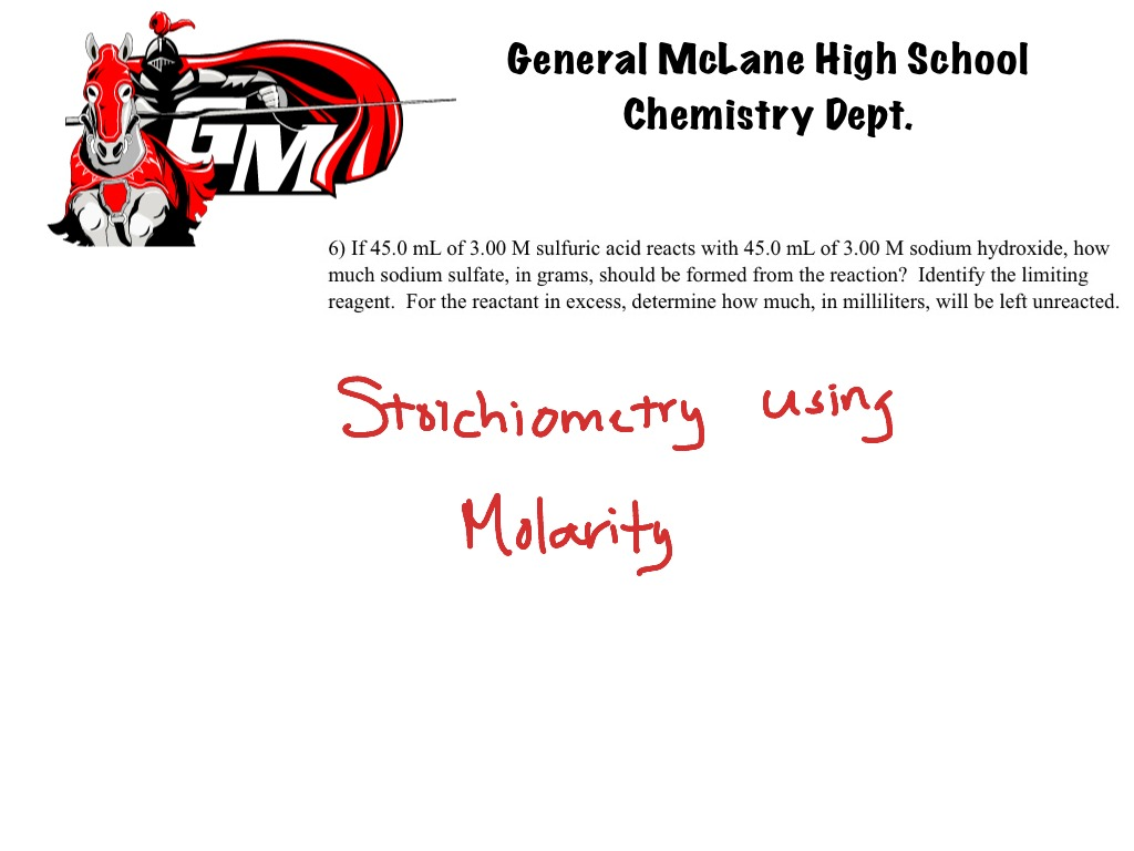 Limiting Reagent Stoichiometry Using Molarity Science Chemistry