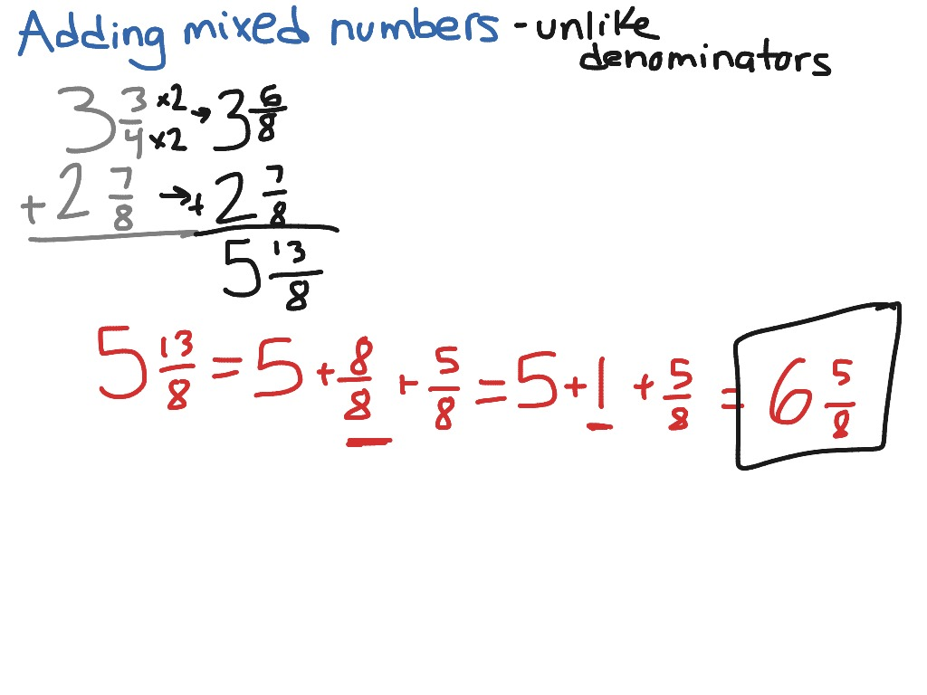 Adding mixed numbers with unlike denominators | Math ...