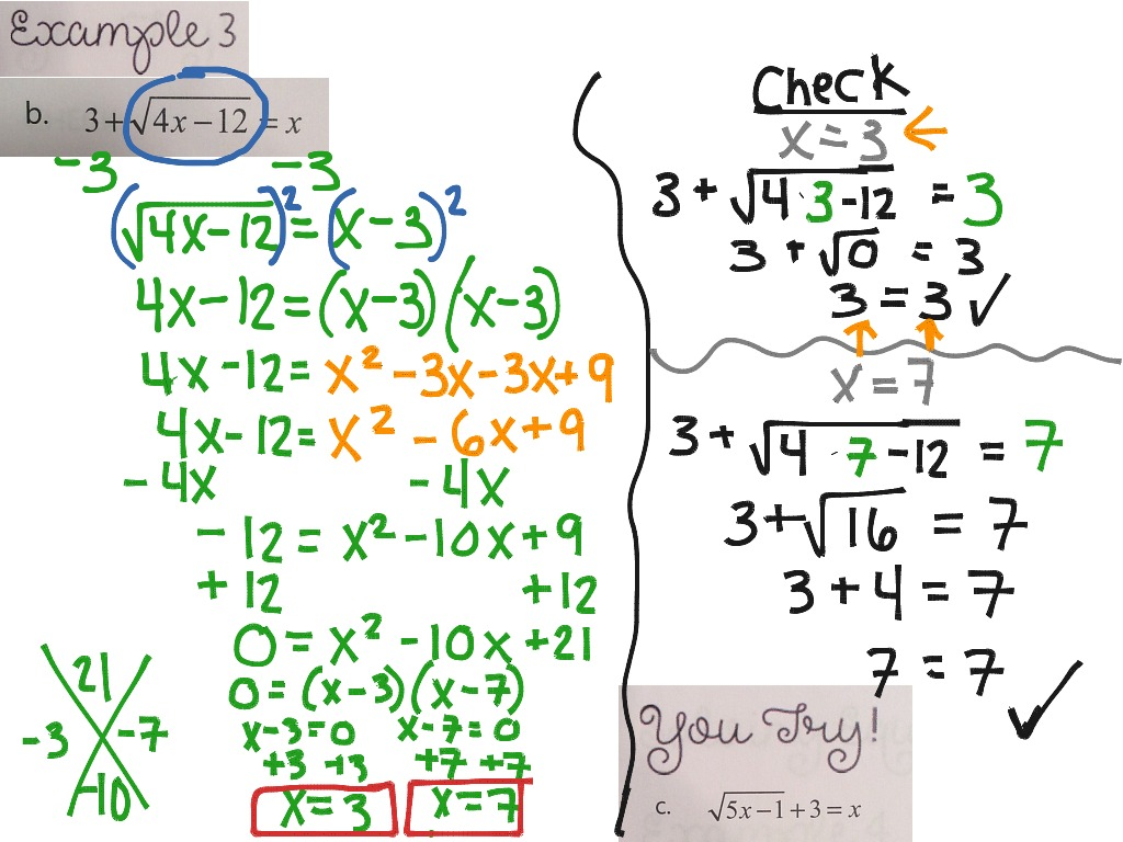 Solving Square Root Other Radical Equations Example 3 Math