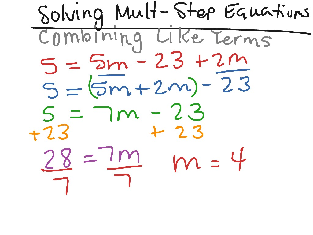 Solving multi-step equations / combining like terms | Math, Algebra ...