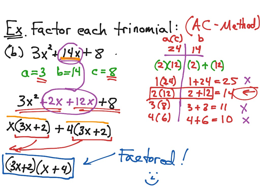 factoring using ac method lead not 1 math showme