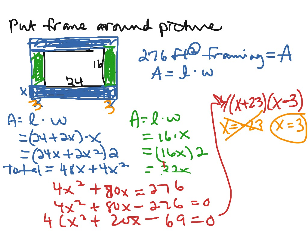 Quadratic Word Problem Picture Frame Math Algebra Quadratic