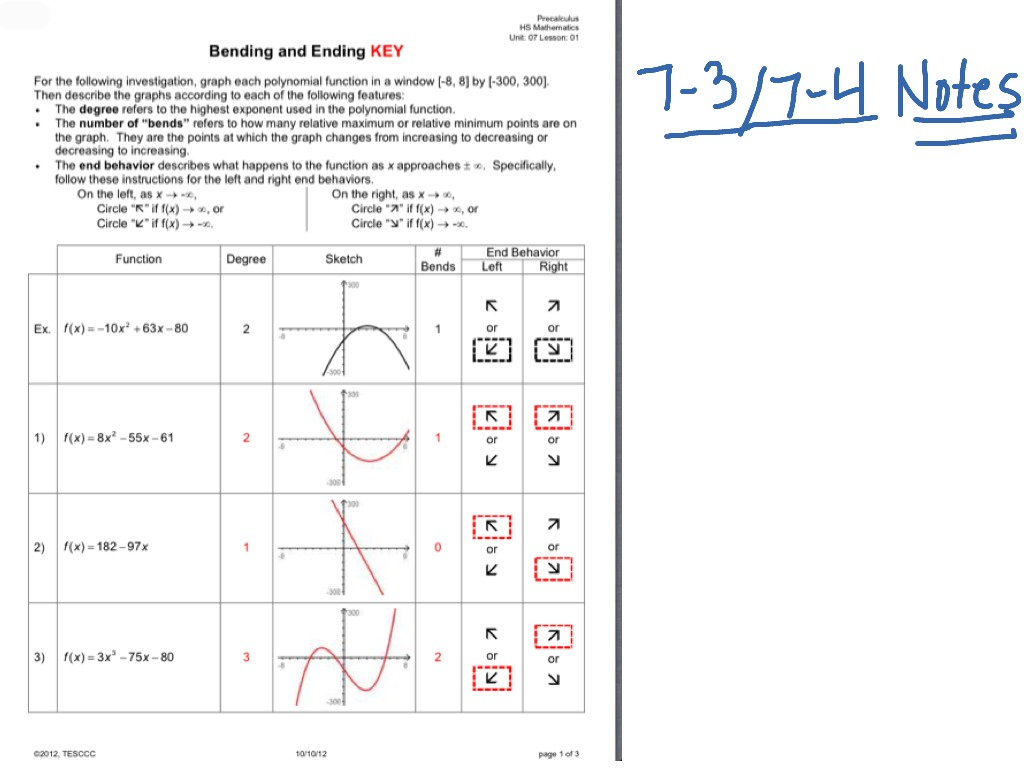 worksheet End Behavior Worksheet 7 37 4 notes bending and ending math precalculus showme