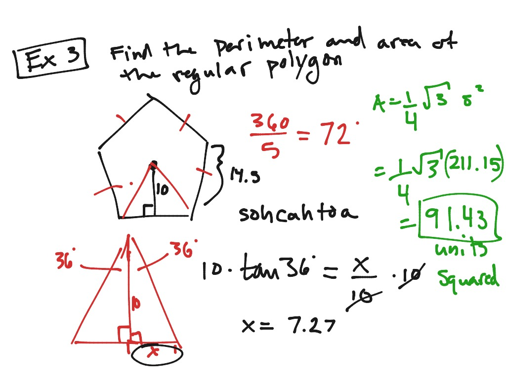 Examples For Areas Of Regular Polygons Math Geometry