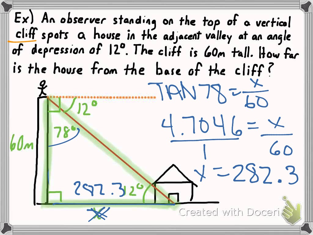 ShowMe 75 angles of elevation and depression – Angles of Elevation and Depression Worksheet
